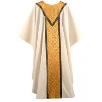 Cream with Gold Windsor with Gold and Black Galloon Chasuble