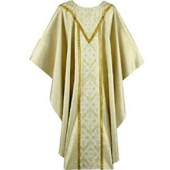 Gold Albani Chasuble with Gold Pamir Orphreys and Double Pointed Yoke
