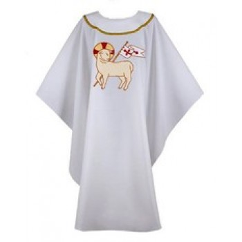 White with Risen Lamb and Gold Trim Chasuble