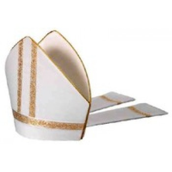White Mitre with Gold Galloon Trim