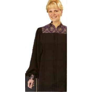 Black Tissue Faille Robe with Purple & Gold Versailles Yoke