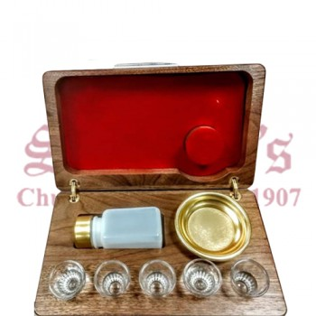 5 Cup Portable Communion Set with Wooden Case