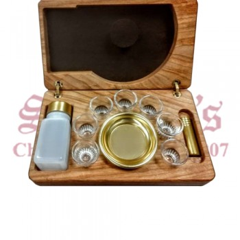 7 Cup Portable Communion Set with Oil Stock and Wooden Case