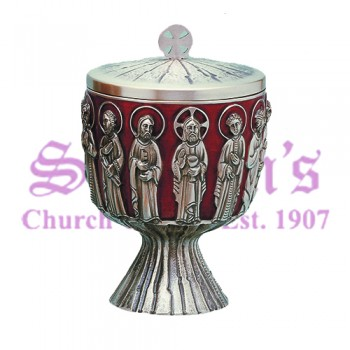 Last Supper with red enamel ciboria