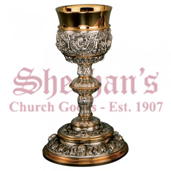 Rich baroque ornamented Chalice & Scale paten with Ring