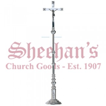 Silver plated brass processional crucifix