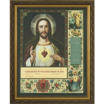 Consecration to the Sacred Heart Certificate Gold Framed