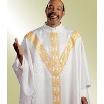 Damascene White Chasuble