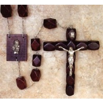 Wood Faceted Wall Rosary