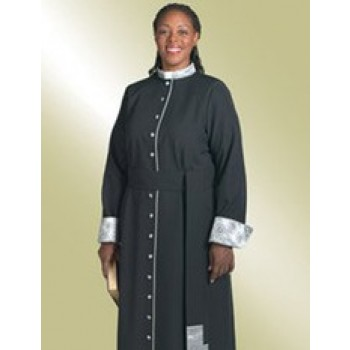 Ladies Black Cassock with Brocade Cuffs