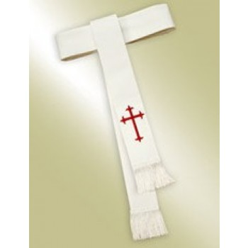 Ladies White Band Cincture with Cross