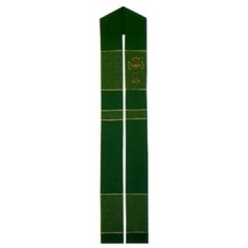 Green Stole with Cross and Colored Bands