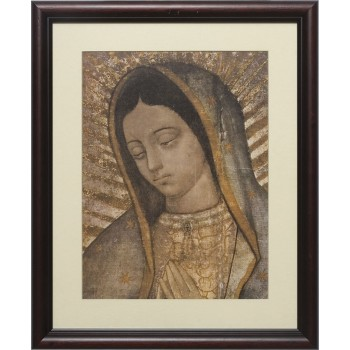 Our Lady of Guadalupe Bust Matted - Cherry Framed Art