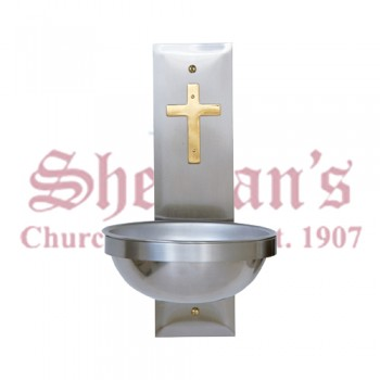Stainless Steel Holy Water Font with Brass Cross