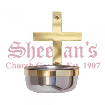 Holy Water Font with Brass Cross