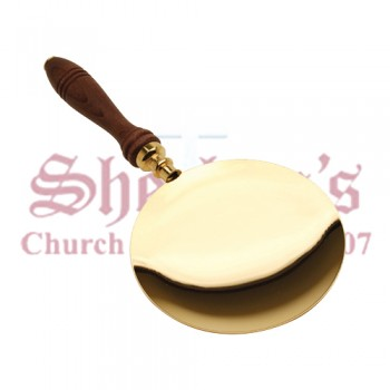 Gold Plated Communion Paten with Wood Handle