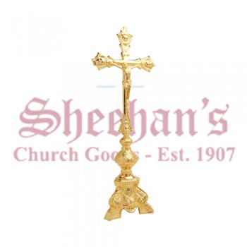 Gold Plated Altar Crucifix with Ornate Base