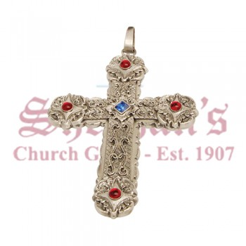 Pectoral Cross with Four Red and One Blue Stones