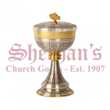 Gold Plated Ciborium with Oxidized Silver Base