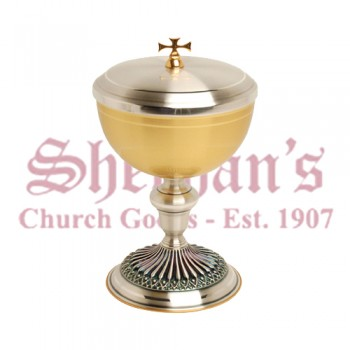 Gold Plated Ciborium with Ornate Oxidized Silver Base