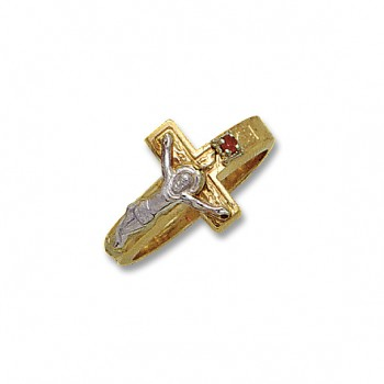 14KT Yellow Gold Crucifix Ring with 1 Ruby Color Stone