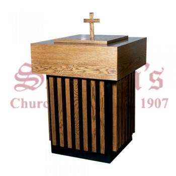 Wood Baptismal Font with Cross on Top
