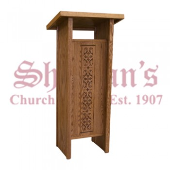 Wood Lectern with Carved Design