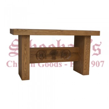 Carved Grapes and Wheat Altar in Solid Oak