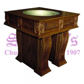 Baptismal Font with Custom Carved Grapes and Leaves