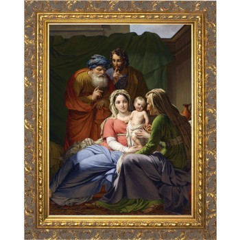 Holy Family with Grandparents Joachim and Anne - Ornate Gold Framed Art