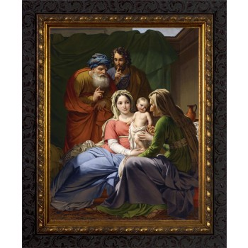Holy Family with Grandparents Joachim and Anne - Ornate Dark Framed Art