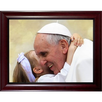 Pope Francis with Child Print Under Glass