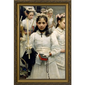 After the First Holy Communion (Detail 1 Girl) - Standard Gold Framed Art
