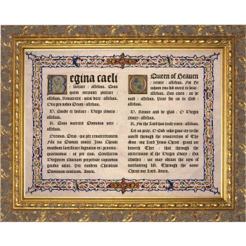 Latin-English Regina Caeli Gold Framed Art