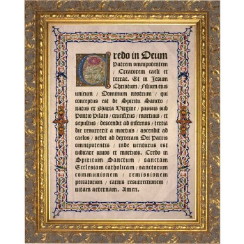 Latin Apostles Creed Gold Framed Art