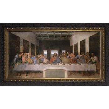 Last Supper by Da Vinci Canvas - Ornate Dark Framed Art