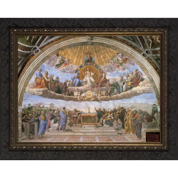 Disputation of the Holy Eucharist Canvas - Ornate Dark Framed Art