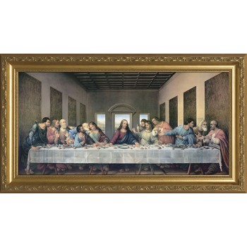 Last Supper by Da Vinci Restored Canvas - Standard Gold Framed Art