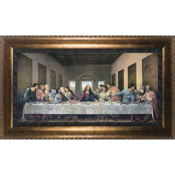 Last Supper by Da Vinci Restored Canvas - Bronze Framed Art