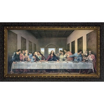 Last Supper by Da Vinci Restored Canvas - Ornate Dark Framed Art