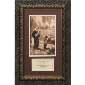 Gift of the Shepherd Matted with Prayer - Ornate Dark Framed Art