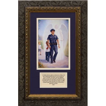 The Protector: Police Guardian Angel Matted with St. Michael Prayer - Ornate Dark Framed Art