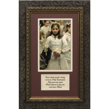 After the First Holy Communion (Detail 1 Girl) Matted with Prayer - Ornate Dark Framed Art