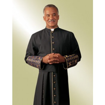 Cassock in Black Viva with Purple and Gold Metallic Radiance Brocade