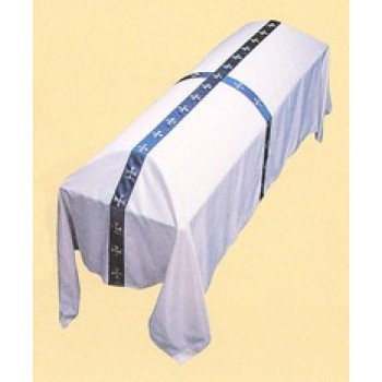 White Funeral Pall with Cross Banding
