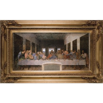Last Supper by Da Vinci Canvas - Gold Museum Framed Art