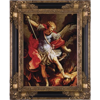 St. Michael the Archangel Canvas - Black and Gold Museum Framed Art