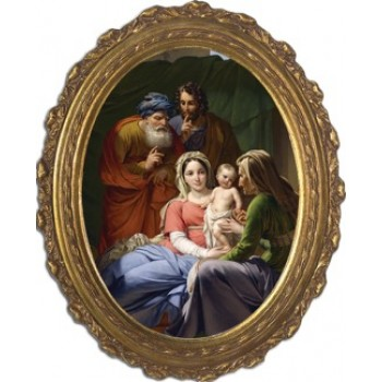 Holy Family with Grandparents Joachim and Anne Framed Oval Canvas