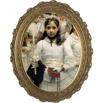After the First Holy Communion (Detail 1 Girl) Canvas - Oval Framed Art
