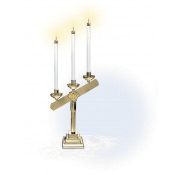 Three Light Candelabra with Brass Base